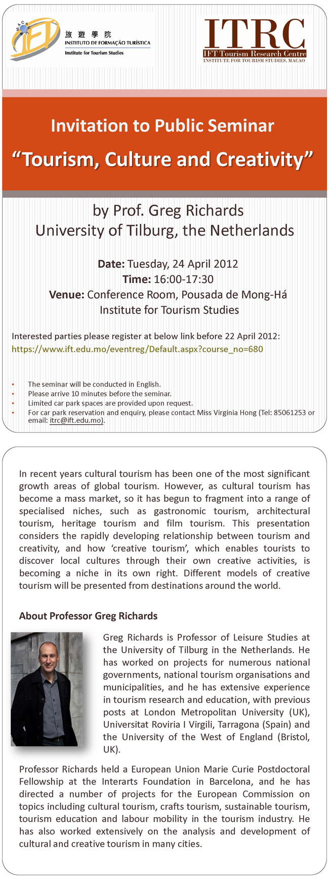 "Public Seminar ""Tourism, Culture and Creativity"""