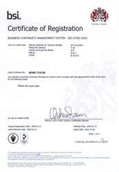 ISO 22301:2012 Certificate